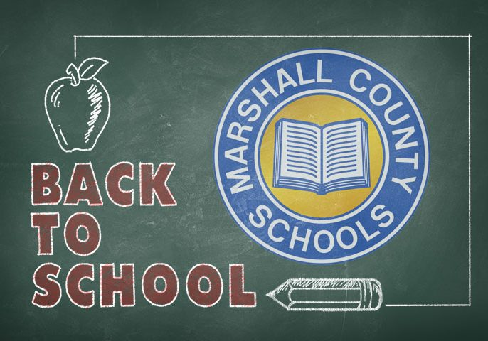 Chalkboard graphic with the Marshall County Schools blue and gold circle logo drawn in chalk with back to school written in red chalk. A white apple is also drawn in chalk.